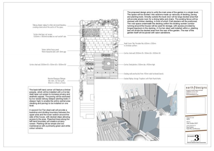 The scale plan from our North London Garden designer