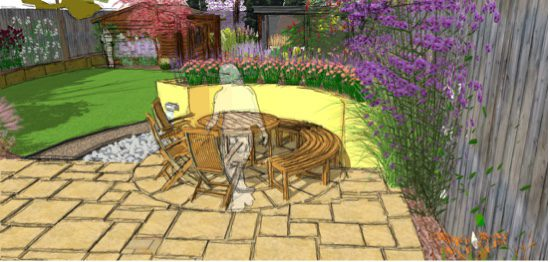 A paved circle is added to the existing patio