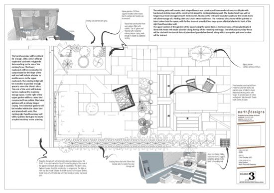 A scale plan details the layout of the garden