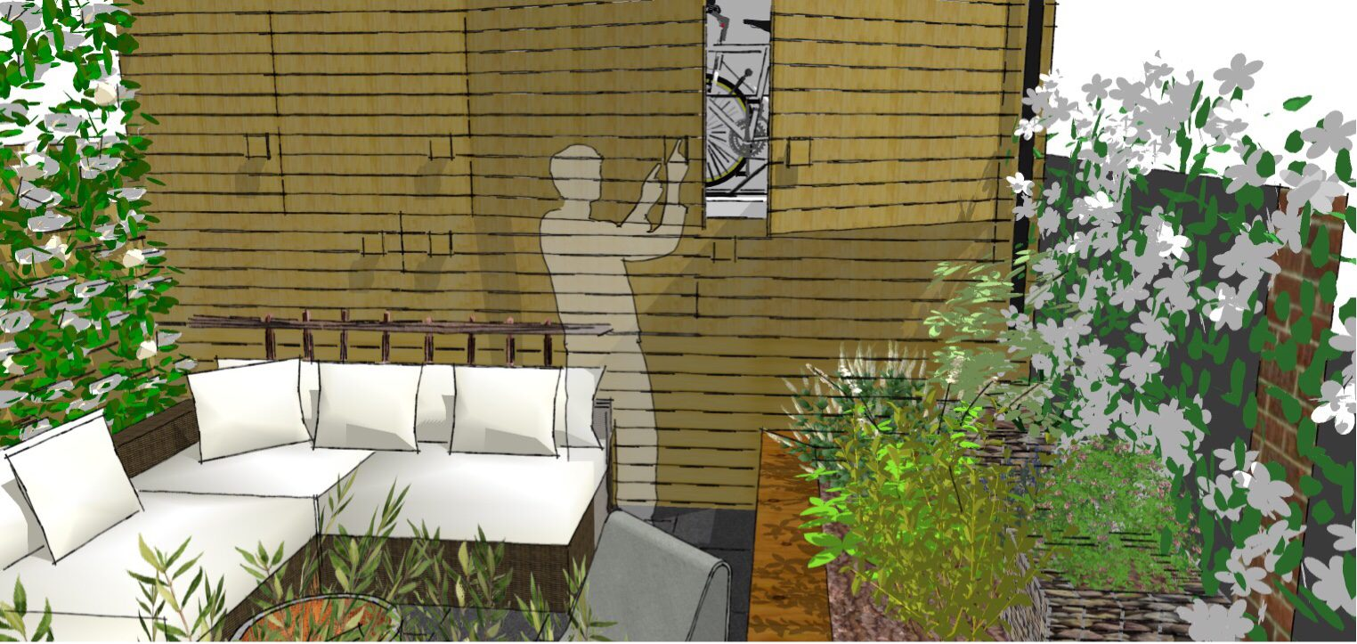 Garden storage fills the back boundary