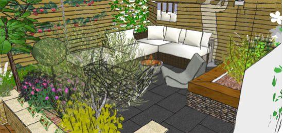 The upper area has a space for a garden sofa