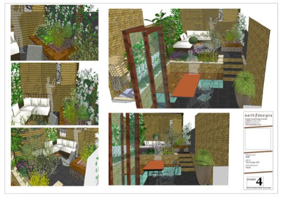 visuals of different angles of the garden help the client identify the space