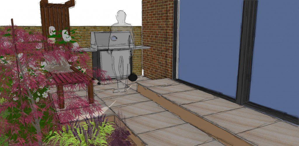 The client is keen on outdoor eating so a gas BBQ is important in final design