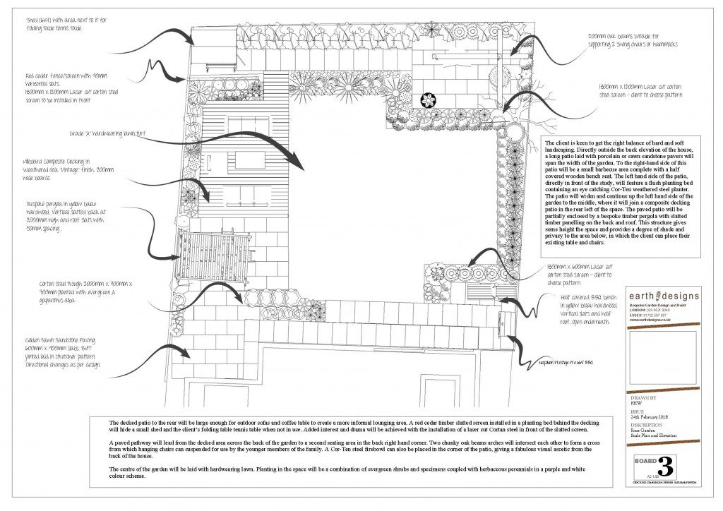 Scale plan of this West London garden Design