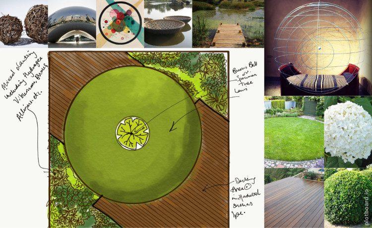 Circular garden design mood board
