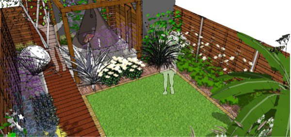 Area at the bottom of the garden has a pergola for hanging play equipment