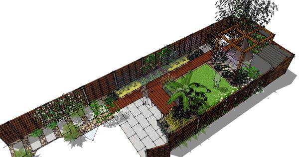 Decking pathway leads you down the space