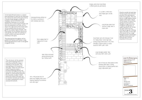 The scale plan in this Walthamstow garden makeover helps the client clearly see the space