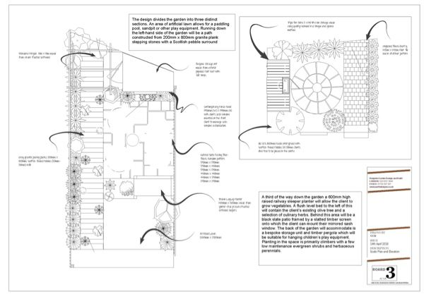 This scale garden plan shows the front and back gardens.