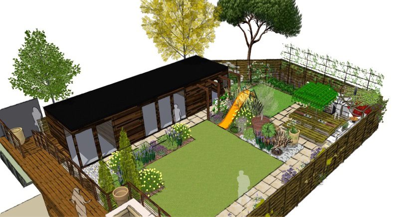 This Chalkwell Garden design relocates the decking stairs to make it easier to navigate the garden