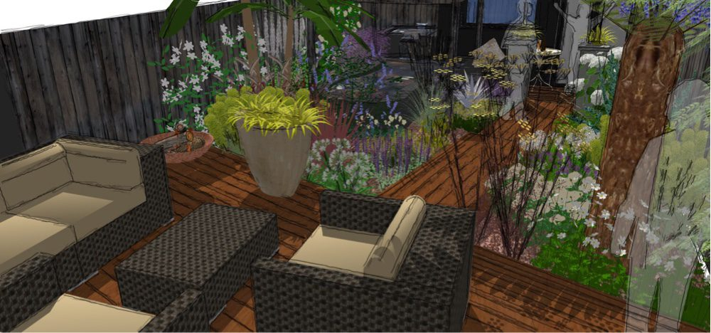 More space created on the main patio by putting it on an angle
