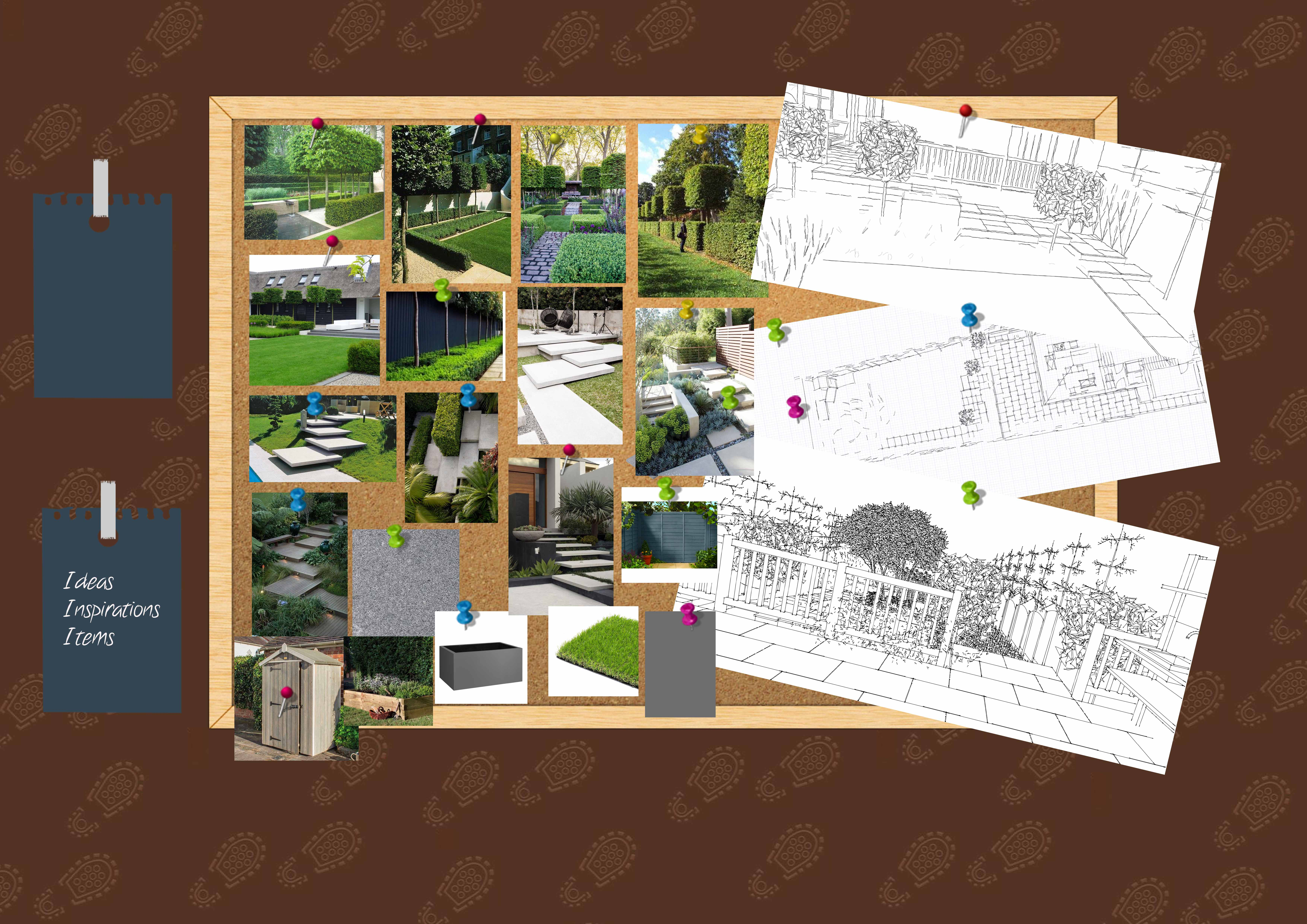Earth Designs always creates mood boards; this is for modern garden designs