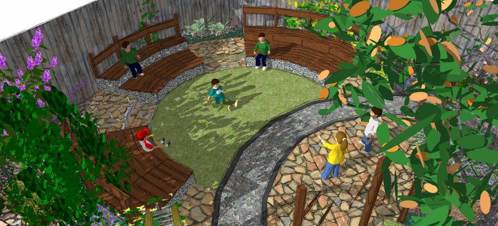 outdoor ampitheatre school garden design