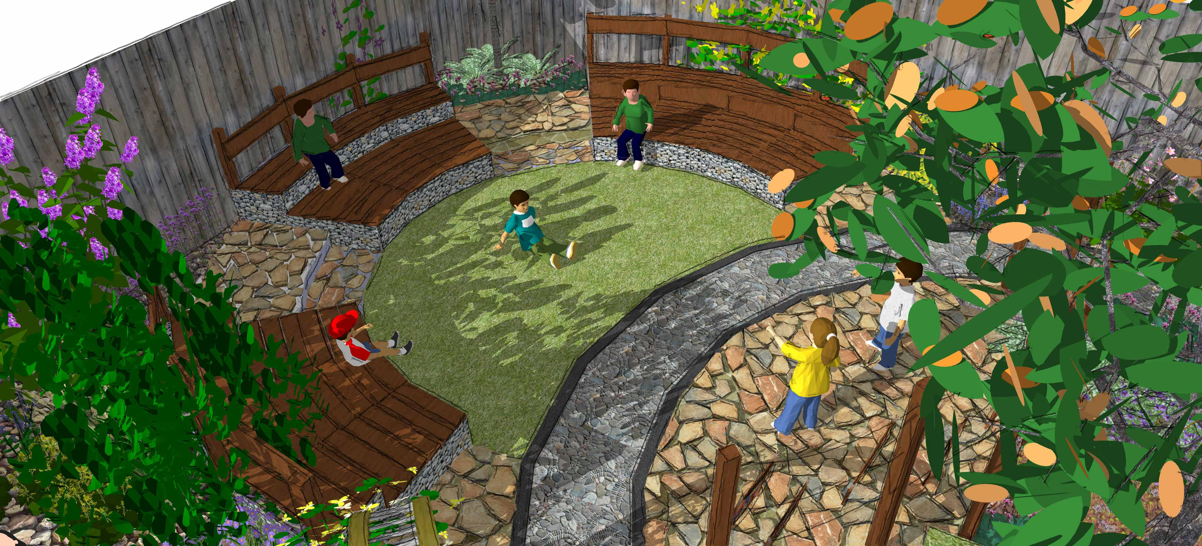 outdoor ampitheatre school garden design