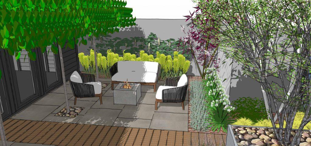 seating area modern garden design rochford