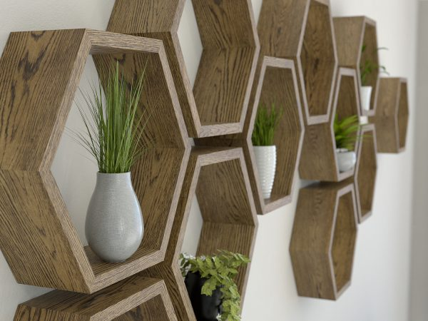 Outdoor wall art - Hexagon-shelves-dark-oak-hexagon-shelf-solid-oak-hexagon-shelf-honeycomb-shelf-