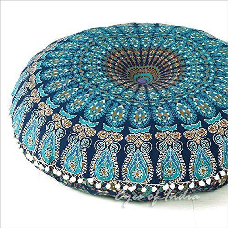 peacock mandala floor pillow - garden furnishings